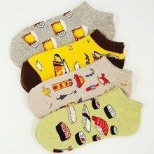 4pairs Cartoon Graphic Socks