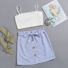 Solid Cami Top & Belted Striped Skirt Set