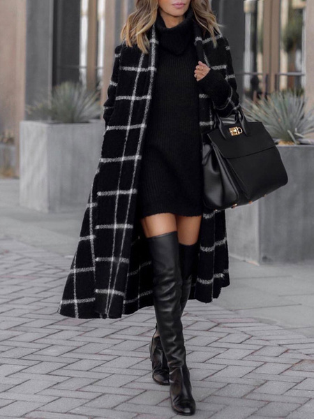 Milanoo Black Winter Coat Women Hooded Long Sleeves Lace Up Plaid Outerwear