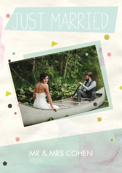 Just Married Flat Matte Photo Paper Cards with Envelopes, 5x7, Card & Stationery -Confetti Just Married