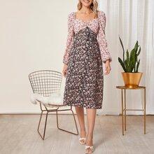 Umstandsmode Kleid mit Herzen Kragen, Rueschen vorn, Selbstguertel und Blumen Muster