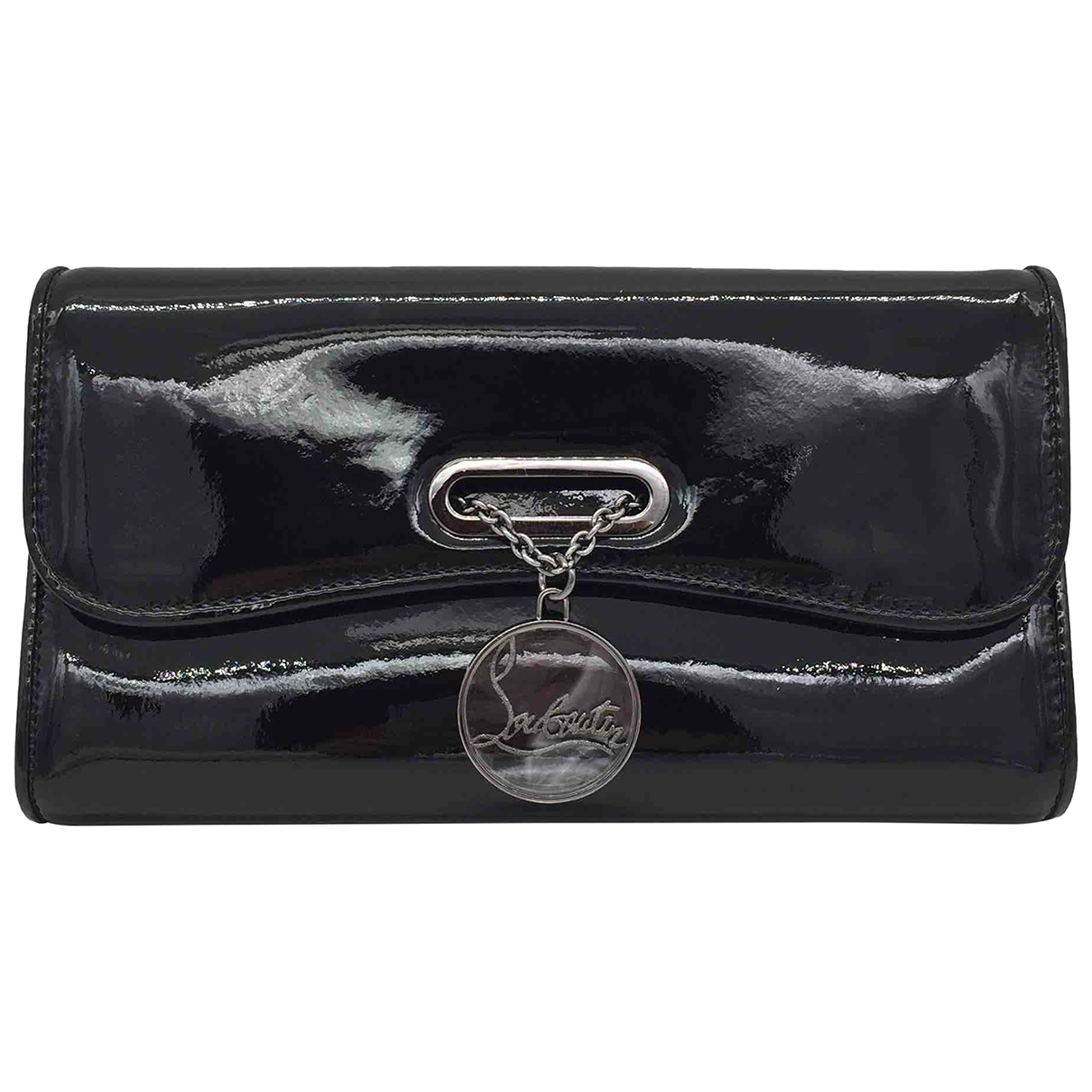 Christian Louboutin Riviera Clutch in  Schwarz Lackleder