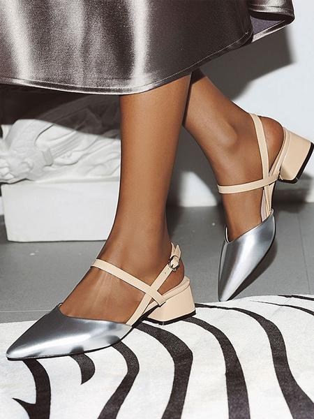 Milanoo Talones del dedo del pie pinted plata de las mujeres mas el tamaño de la correa del tobillo Bombas