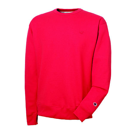 Champion Mens Long-Sleeve Powerblend Fleece Crew Sweatshirt, Small , Red