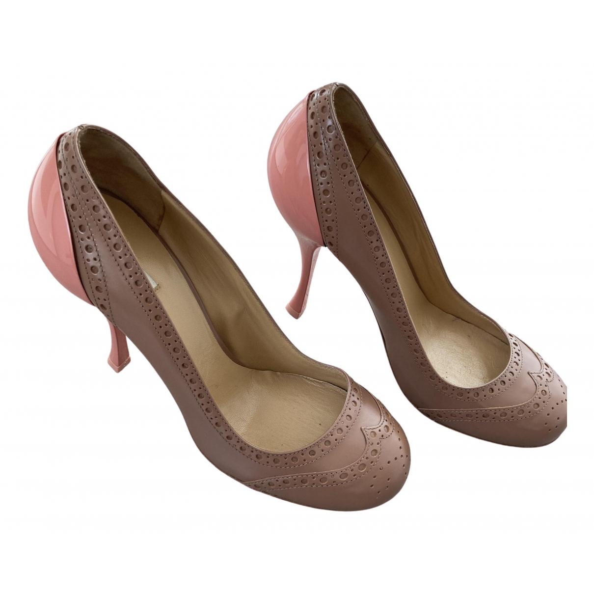 Miu Miu N Brown Leather Heels for Women 36 EU
