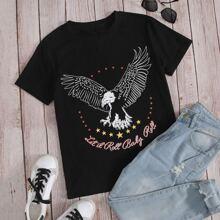 T-Shirt mit Adler & Buchstaben Grafik