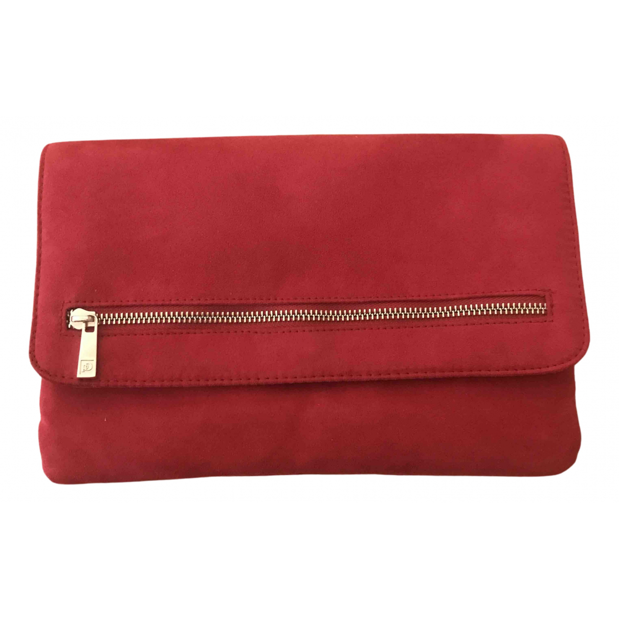 Non Signe / Unsigned \N Clutch in  Rot Veloursleder