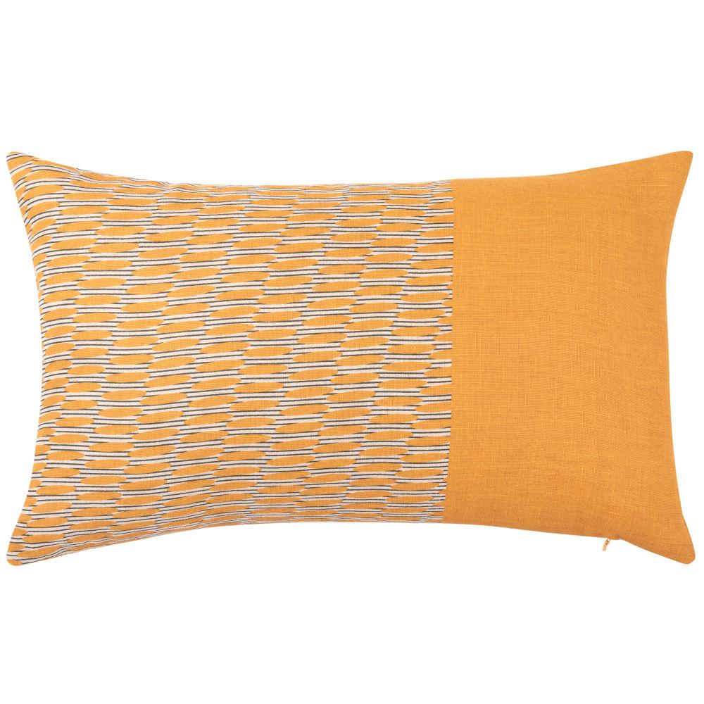 Kissenbezug aus Leinen, orange, bedruckt 50x30