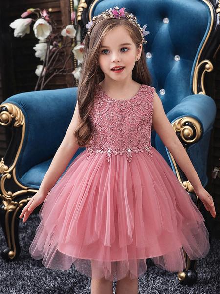 Milanoo Vestidos de niña de las flores Cuello joya Sin mangas Lazos Vestidos formales de desfile para niños
