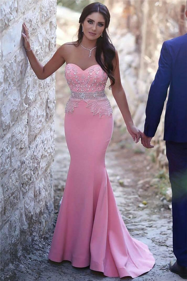 Sweetheart Pink Mermaid Pretty Beads Sequins Crystals Sleeveless Sexy Evening Gown