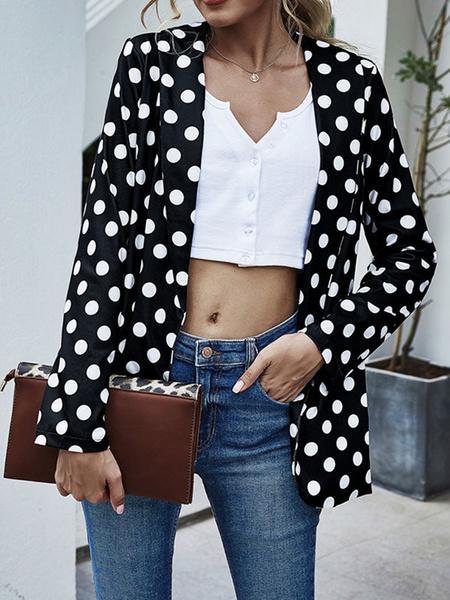 Milanoo Women Blazer Jacket Blue Turndown Collar Long Sleeves Polka Dot Spring Jacket