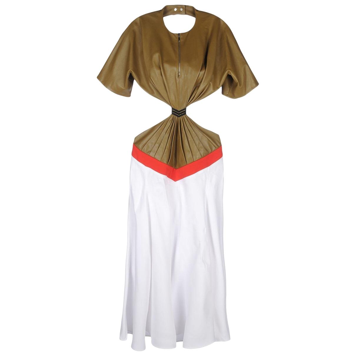 Mugler - Robe   pour femme en cuir - kaki