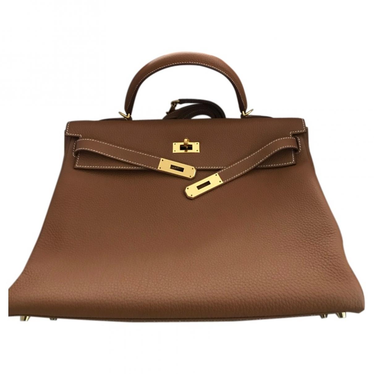 Hermes - Sac a main Kelly 32 pour femme en cuir - marron
