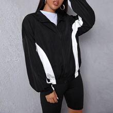 Contrast Panel Drop Shoulder Zipper Up Wind Jacket