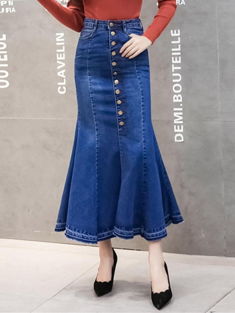 Ericdress Mermaid Plain Pocket Denim High-Waist Skirt