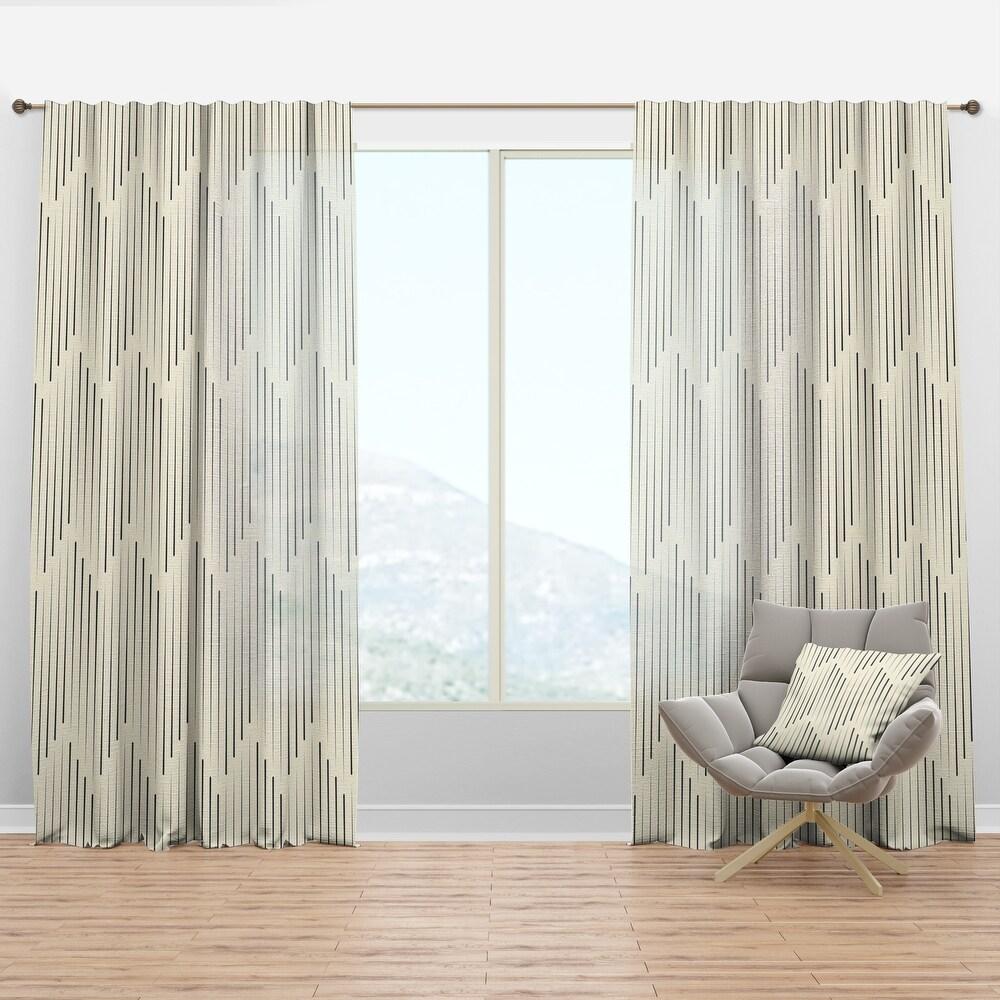 Designart 'Zigzag Minimal Striped Design' Scandinavian Curtain Panel (50 in. wide x 84 in. high - 1 Panel)