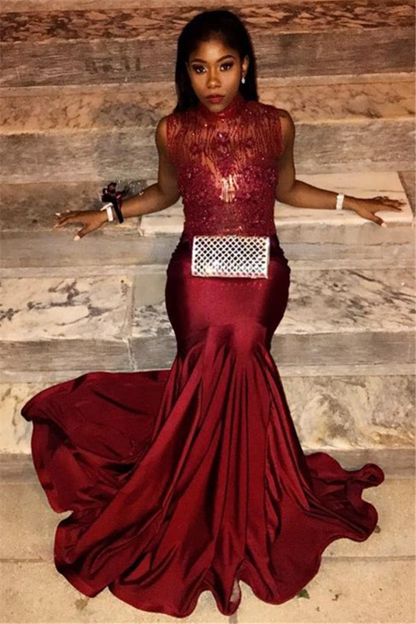 Mermaid Burgundy Lace Appliques Prom Dresses | High Neck Sexy Sleeveless Evening Gown Online