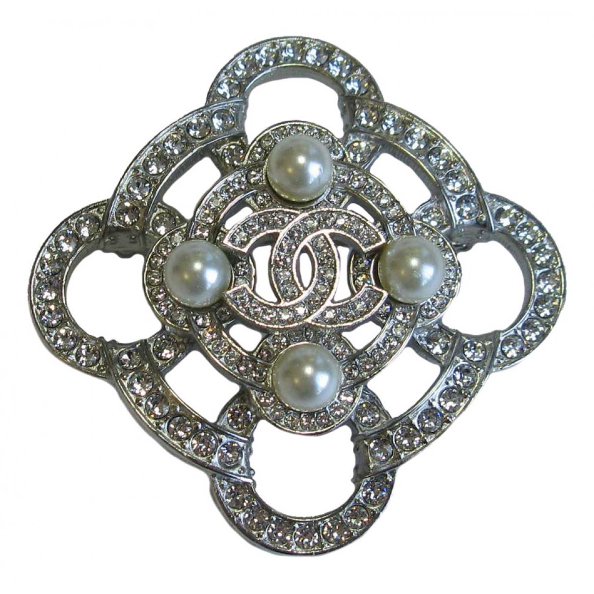 Chanel - Broche CC pour femme en metal - argente
