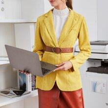 Lapel Collar Single Button Blazer Without Belt