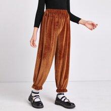 Samt Hose mit elastischer Taille und Rueschen