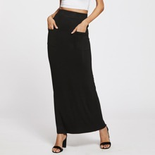 Pockets Front Sheath Skirt
