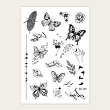 1 Blatt Tattoo Aufkleber mit Schmetterling Muster