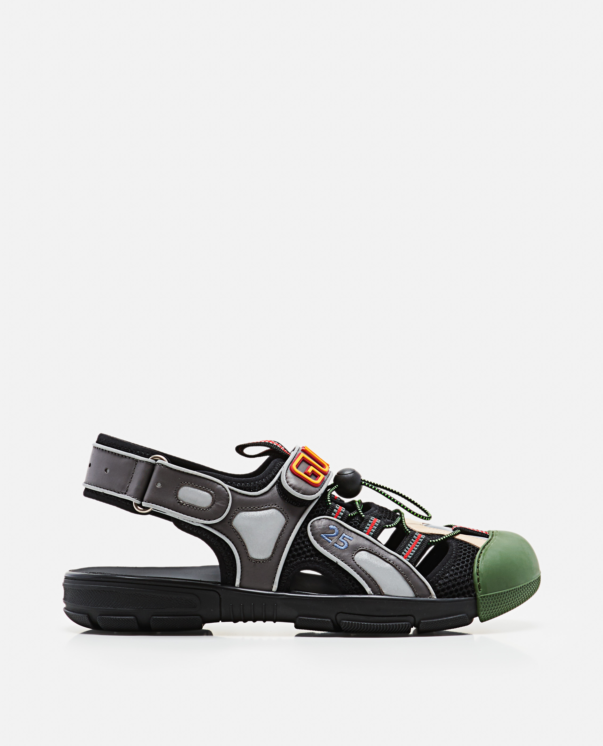 Leather And Mesh Sandal