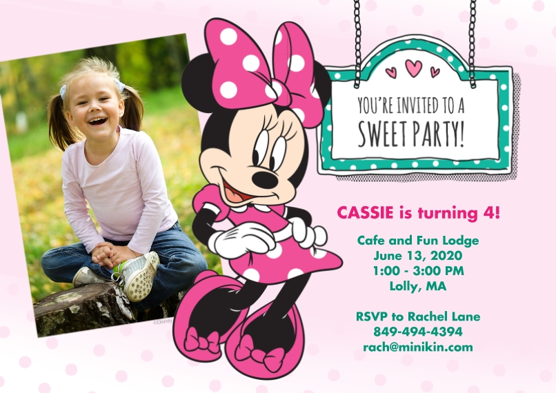 Kids Birthday Party 5x7 Cards, Premium Cardstock 120lb with Rounded Corners, Card & Stationery -Minnie Mouse & Polka Dots Party Invitation by Hallmark