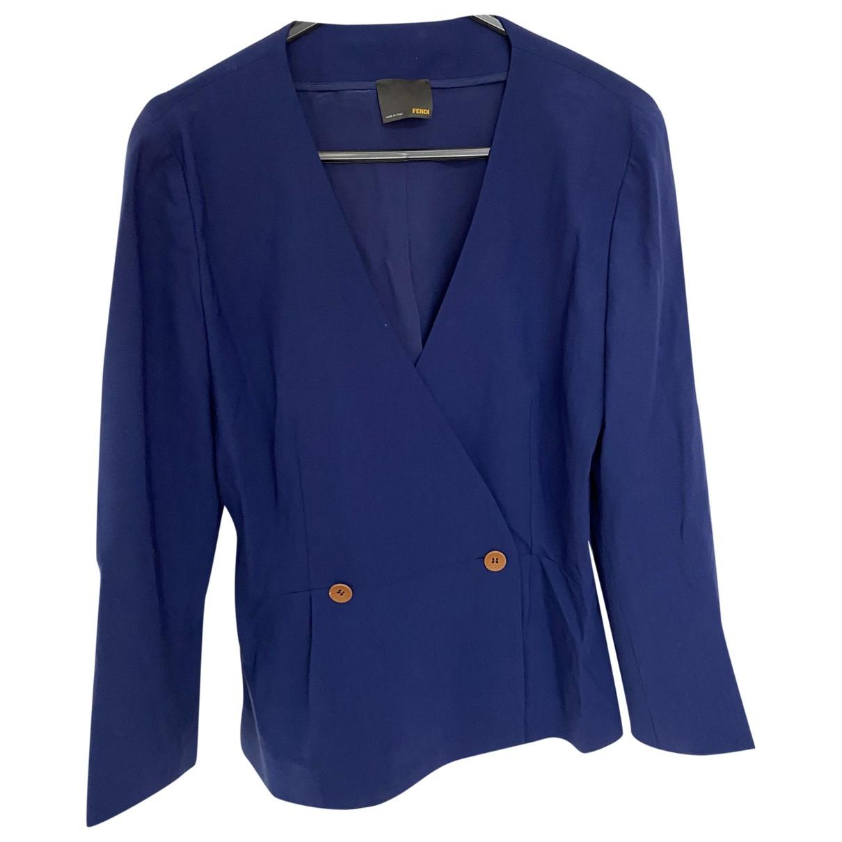 Fendi \N Jacke in  Blau Wolle