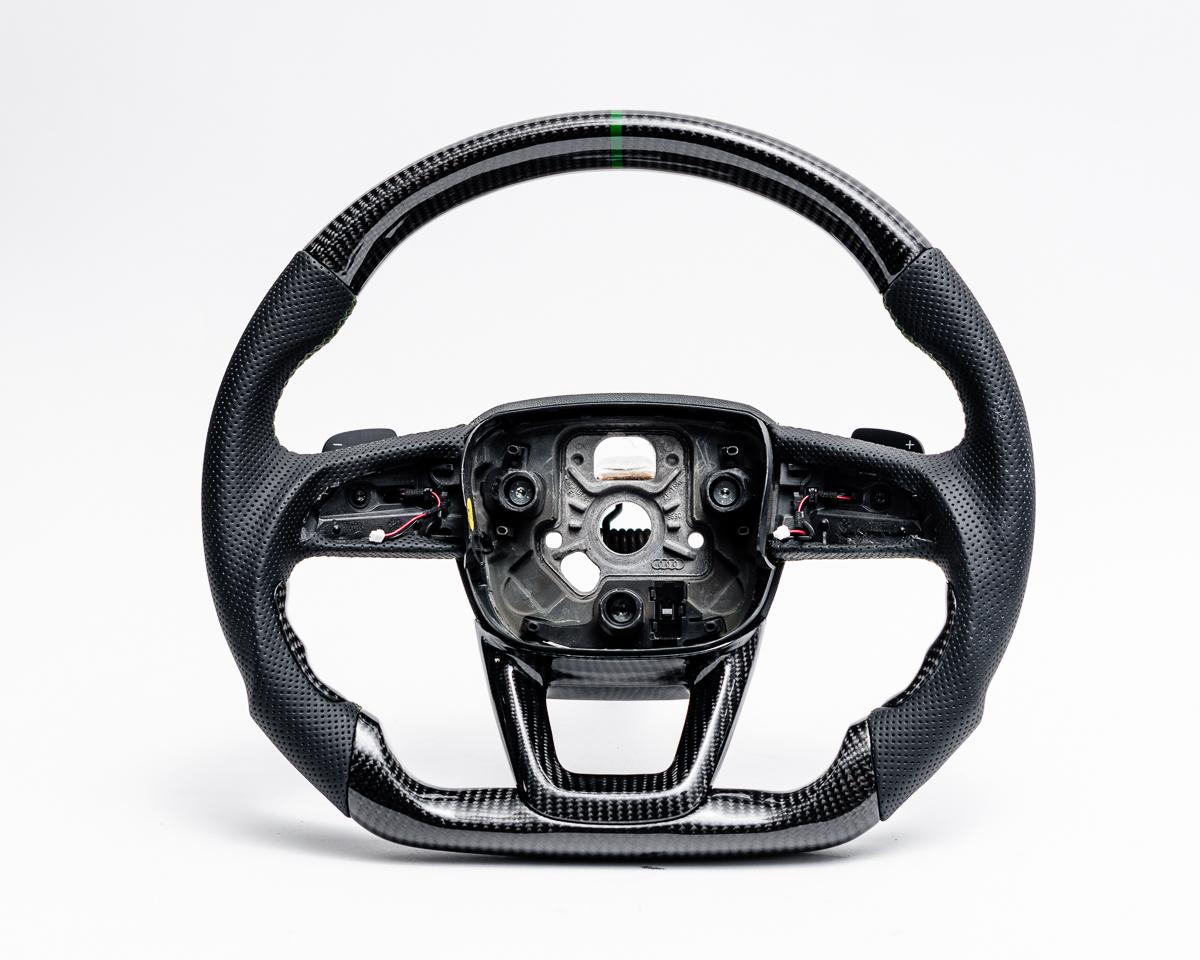 Audi Q5 | Q7 | Q8 OEM Upgraded Steering Wheel Carbon Fiber Green Stripe - INSTOCK