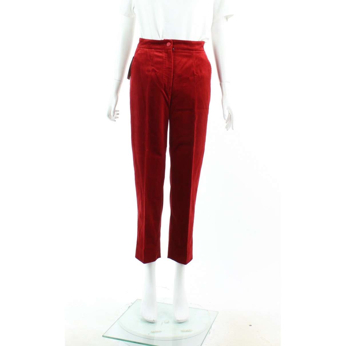 Dolce & Gabbana \N Red Velvet Trousers for Women 38 FR