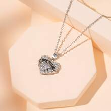 Collar con corazon con diamante de imitacion
