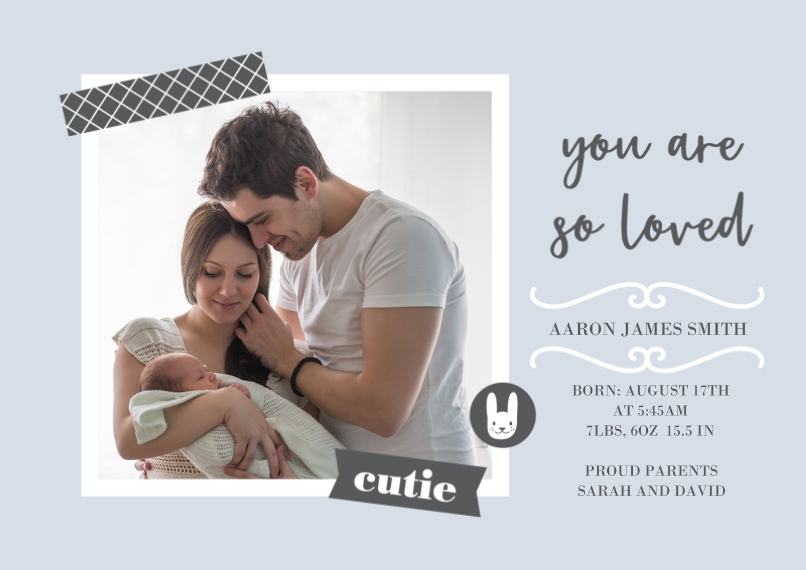 Newborn 5x7 Cards, Premium Cardstock 120lb with Elegant Corners, Card & Stationery -Apart But Always Loved Baby