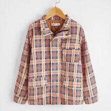 Puffer Mantel mit Taschen Klappe und Plaid Muster