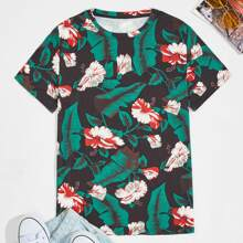 Men Tropical And Floral Print Tee