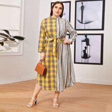Kleid mit Stehkragen, Knopfen vorn, Karo Muster und Streifen