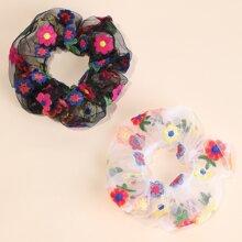 2 Stuecke Blumen gestickte Scrunchie