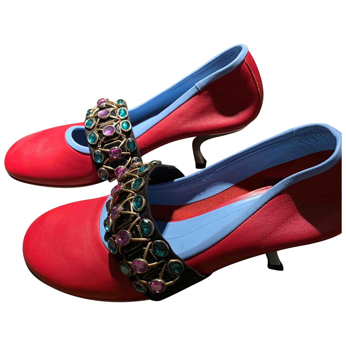 Marni - Escarpins   pour femme en cuir - rouge