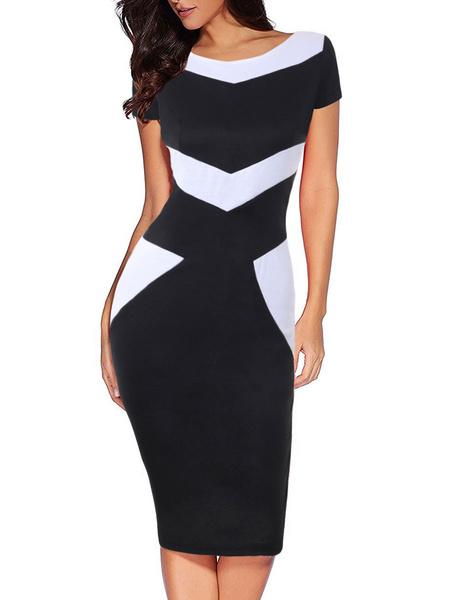 Milanoo Vestidos ajustados de manga corta negros Vestido a media pierna de dos tonos