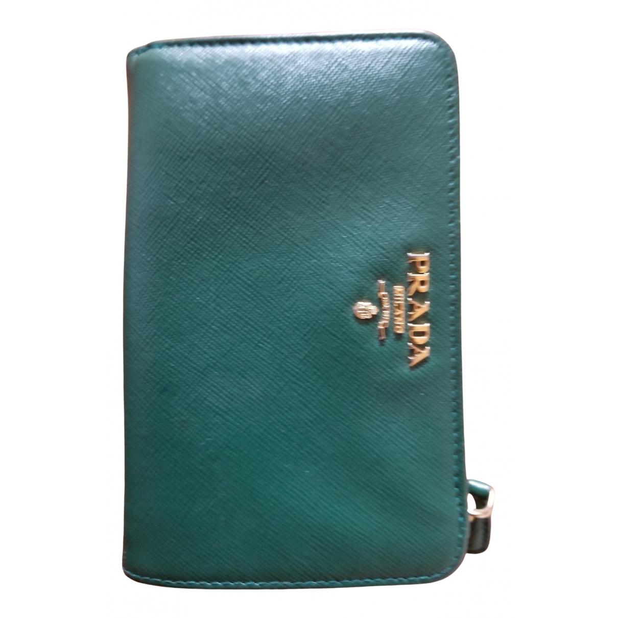 Prada - Portefeuille   pour femme en cuir - vert