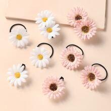 8 piezas accesorio de pelo de niñitas con flor