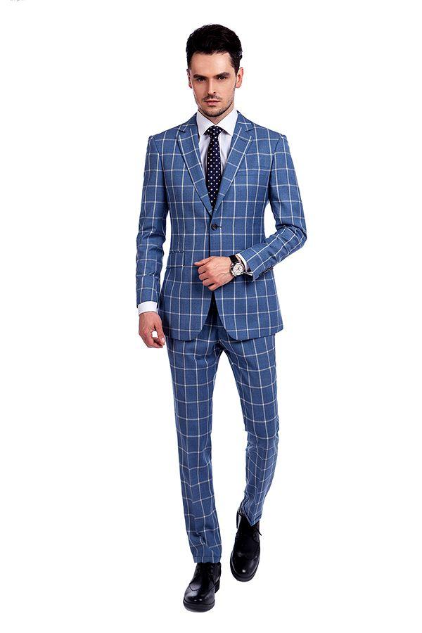 Blue Windowpane Einreiher Slim Fit Klassischer Anzug   Emailliertes Revers gemacht, um Mann-Anzug zu messen