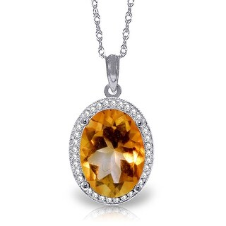 4.88 Carat 14K Solid Gold Loren Citrine Diamond Gemstone Necklace (18 Inch - White)