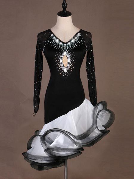 Milanoo Latin Dance Costume Black Women Ruffle Beaded Dancing Wears Outfit Halloween