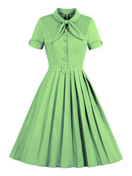 Milanoo Vestido vintage Botones de arcos en capas verde claro de los años 50 Vestido de rockabilly de manga corta con cuello marinero