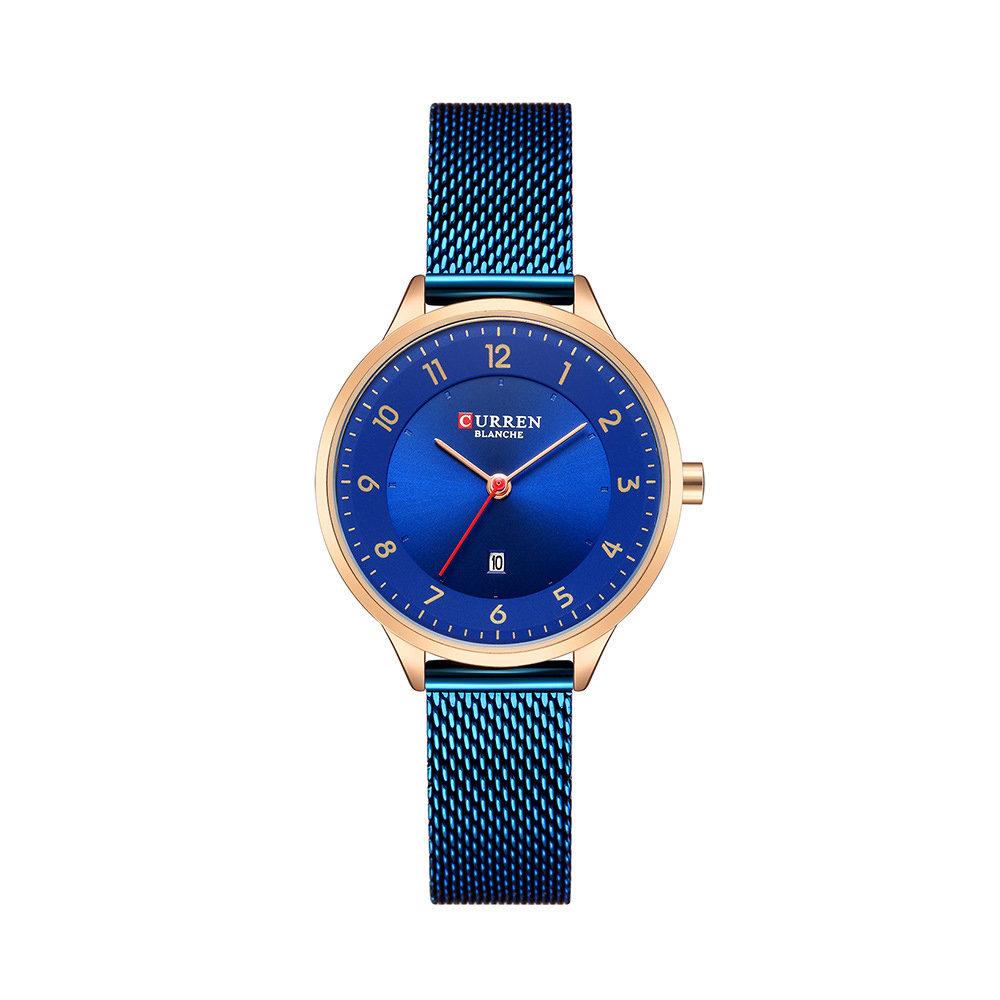 Fashion Blue Quartz Watch Date Display Simple Design Women Wrist Watch Full Steel Quartz Watch