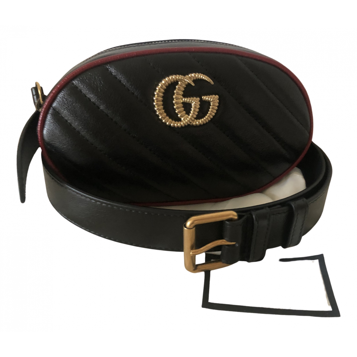 Gucci N Black Leather belt for Women 85 cm