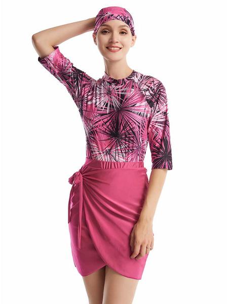 Milanoo Arabian Swimsuit Rose Muslim Half Sleeves Printed Lace Up Beach Bathing Suit
