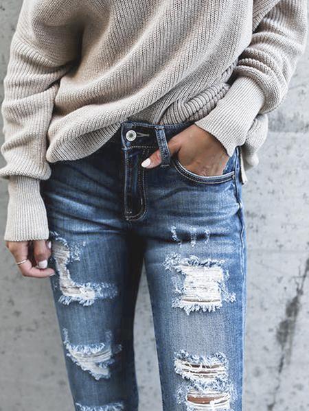 Yoins Blue Random Ripped Details Side Pockets Denim Jeans