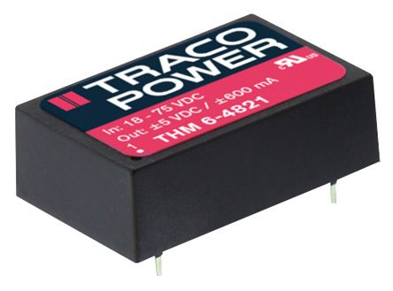 TRACOPOWER THM 6 6W Isolated DC-DC Converter PCB Mount, Voltage in 9 → 18 V dc, Voltage out ±5V dc Medical